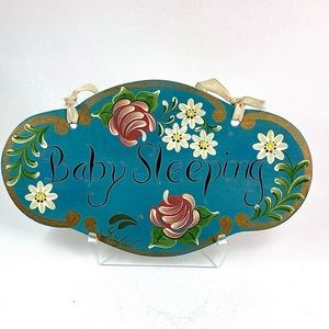Baby Sleeping Hand Painted Tole Wooden Sign
